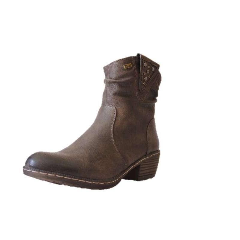 12233cb3d7ebd4 Rieker, Andros-93782-26, Chaussure femme; bottine (boots) fourrée,brun,  fermeture éclair,